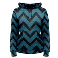 Chevron9 Black Marble & Teal Leather Women s Pullover Hoodie