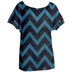 Chevron9 Black Marble & Teal Leather (r) Women s Oversized Tee