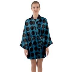 Circles1 Black Marble & Teal Leather Long Sleeve Kimono Robe