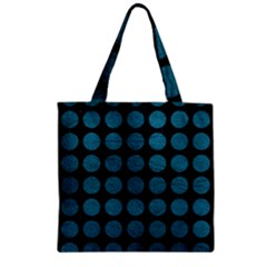 Circles1 Black Marble & Teal Leather (r) Zipper Grocery Tote Bag