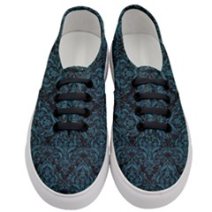 Damask1 Black Marble & Teal Leather (r) Women s Classic Low Top Sneakers