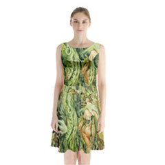Chung Chao Yi Automatic Drawing Sleeveless Waist Tie Chiffon Dress
