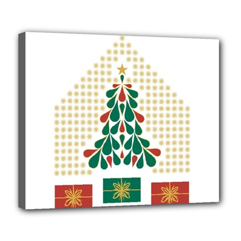 Christmas Tree Present House Star Deluxe Canvas 24  X 20