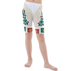 Christmas Tree Present House Star Kids  Mid Length Swim Shorts
