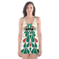 Christmas Tree Present House Star Skater Dress Swimsuit