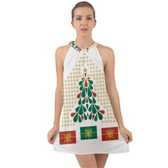 Christmas Tree Present House Star Halter Tie Back Chiffon Dress