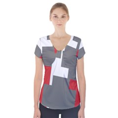 Cross Abstract Shape Line Short Sleeve Front Detail Top