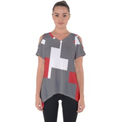Cross Abstract Shape Line Cut Out Side Drop Tee