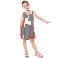 Cross Abstract Shape Line Kids  Sleeveless Dress