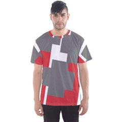 Cross Abstract Shape Line Men s Sports Mesh Tee