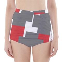 Cross Abstract Shape Line High Waisted Bikini Bottoms