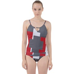 Cross Abstract Shape Line Cut Out Top Tankini Set