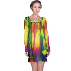 Abstract Vibrant Colour Botany Long Sleeve Nightdress
