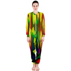 Abstract Vibrant Colour Botany Onepiece Jumpsuit (ladies)