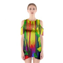 Abstract Vibrant Colour Botany Shoulder Cutout One Piece