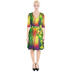Abstract Vibrant Colour Botany Wrap Up Cocktail Dress