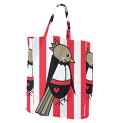 Bird Cute Design Cartoon Drawing Giant Grocery Zipper Tote