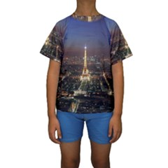 Paris At Night Kids  Short Sleeve Swimwear
