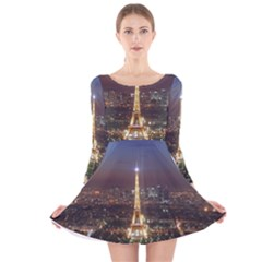 Paris At Night Long Sleeve Velvet Skater Dress