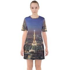 Paris At Night Sixties Short Sleeve Mini Dress