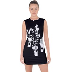 Kiss Band Logo Lace Up Front Bodycon Dress
