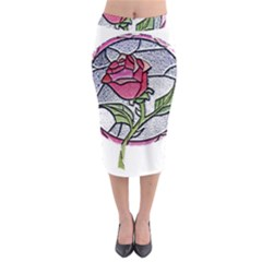Beauty And The Beast Rose Midi Pencil Skirt