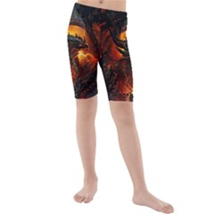 Dragon Legend Art Fire Digital Fantasy Kids  Mid Length Swim Shorts