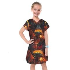 Dragon Legend Art Fire Digital Fantasy Kids  Drop Waist Dress