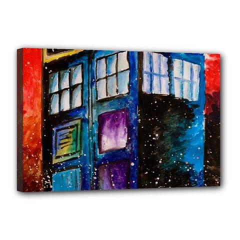 Dr Who Tardis Painting Canvas 18  X 12