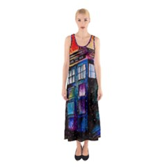 Dr Who Tardis Painting Sleeveless Maxi Dress