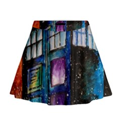 Dr Who Tardis Painting Mini Flare Skirt