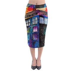 Dr Who Tardis Painting Midi Pencil Skirt