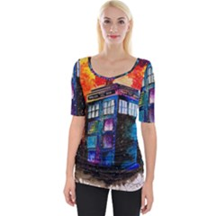 Dr Who Tardis Painting Wide Neckline Tee