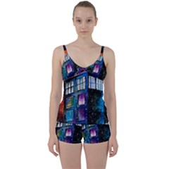 Dr Who Tardis Painting Tie Front Two Piece Tankini