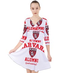 Harvard Alumni Just Kidding Quarter Sleeve Front Wrap Dress