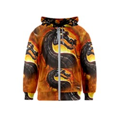 Dragon And Fire Kids  Zipper Hoodie