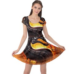 Dragon And Fire Cap Sleeve Dress