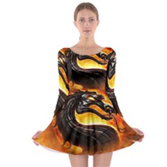 Dragon And Fire Long Sleeve Skater Dress