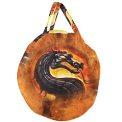 Dragon And Fire Giant Round Zipper Tote