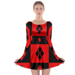 Harley Quinn Logo Pattern Long Sleeve Skater Dress