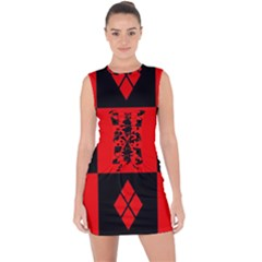 Harley Quinn Logo Pattern Lace Up Front Bodycon Dress
