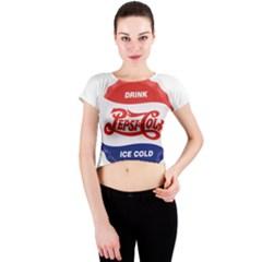 Pepsi Cola Bottle Cap Style Metal Crew Neck Crop Top