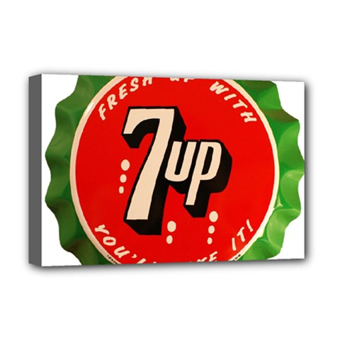 Fresh Up With  7 Up Bottle Cap Tin Metal Deluxe Canvas 18  X 12