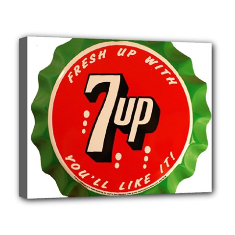 Fresh Up With  7 Up Bottle Cap Tin Metal Deluxe Canvas 20  X 16