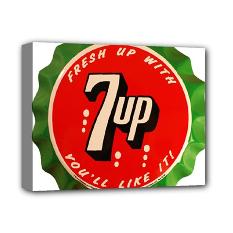 Fresh Up With  7 Up Bottle Cap Tin Metal Deluxe Canvas 14  X 11