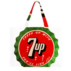 Fresh Up With  7 Up Bottle Cap Tin Metal Zipper Large Tote Bag