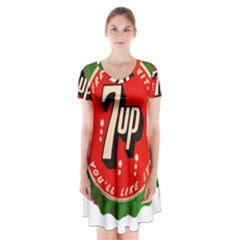 Fresh Up With  7 Up Bottle Cap Tin Metal Short Sleeve V Neck Flare Dress