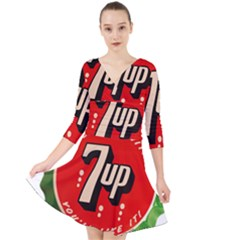 Fresh Up With  7 Up Bottle Cap Tin Metal Quarter Sleeve Front Wrap Dress