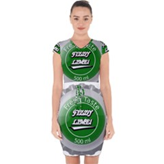 Fresh Taste Fizzy Lime Bottle Cap Capsleeve Drawstring Dress
