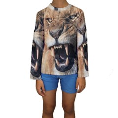 Male Lion Angry Kids  Long Sleeve Swimwear